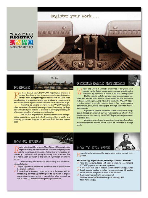 Writers Guild Registry Brochure